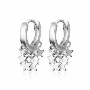 Silver Star Hoop Drop Dangle Earrings NWT